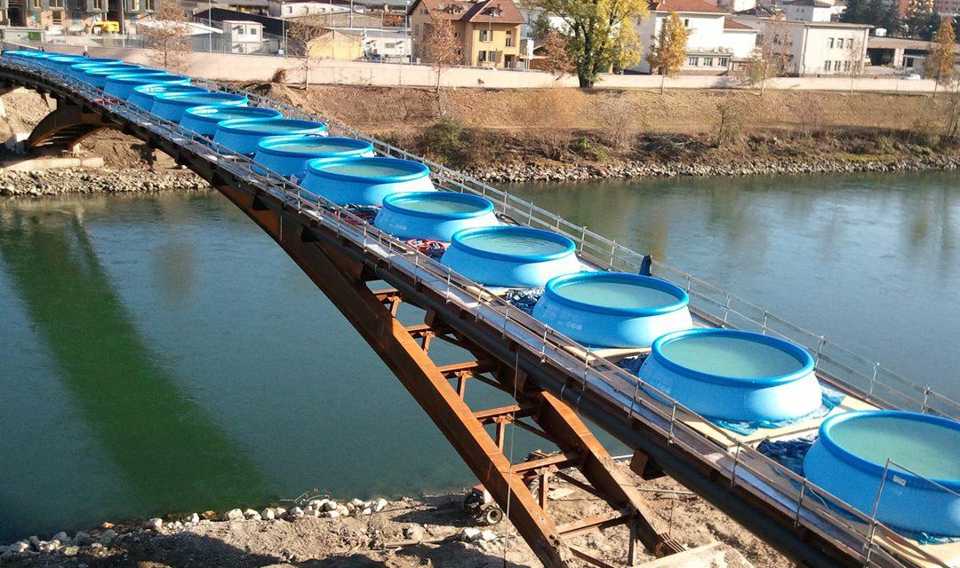 Prova di carico su ponte ciclo-pedonale a Trento